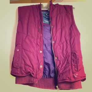 Purple vest.